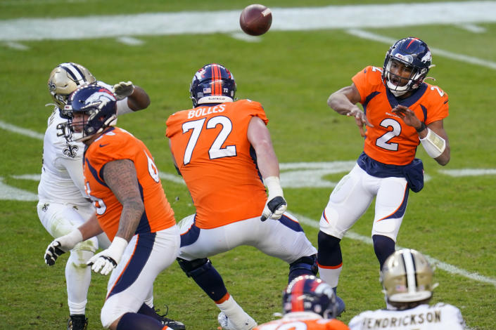 Denver Broncos quarterback Kendall Hinton (2) throws against the New Orleans Saints during the second half of an NFL football game, Sunday, Nov. 29, 2020, in Denver. (AP Photo/David Zalubowski)