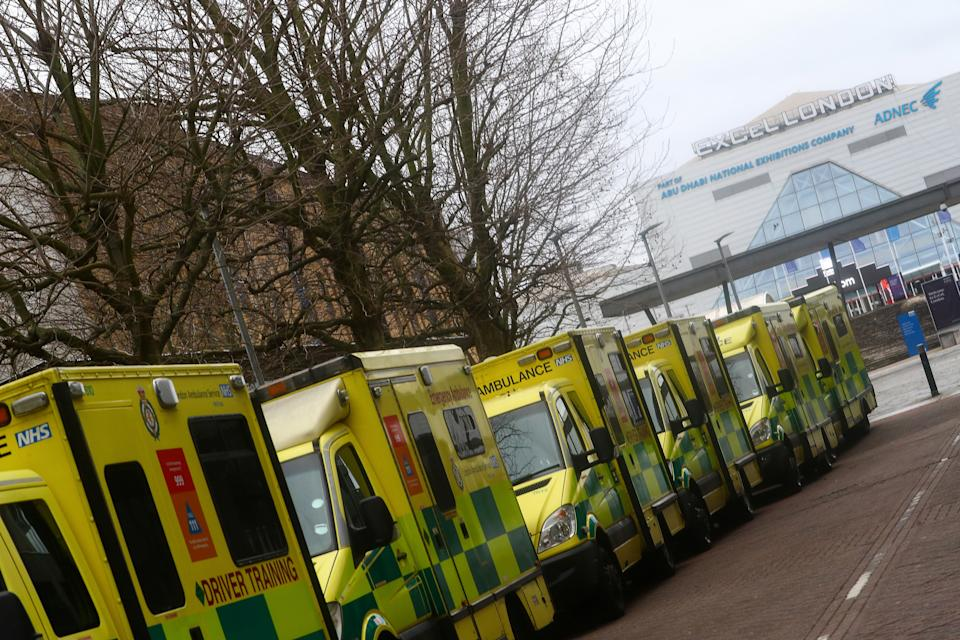 Ambulances are parked outside NHS Nightingale Hospital at the ExCeL centre following the outbreak of the coronavirus disease (COVID-19) in London, Britain January 2, 2021. REUTERS/Hannah McKay