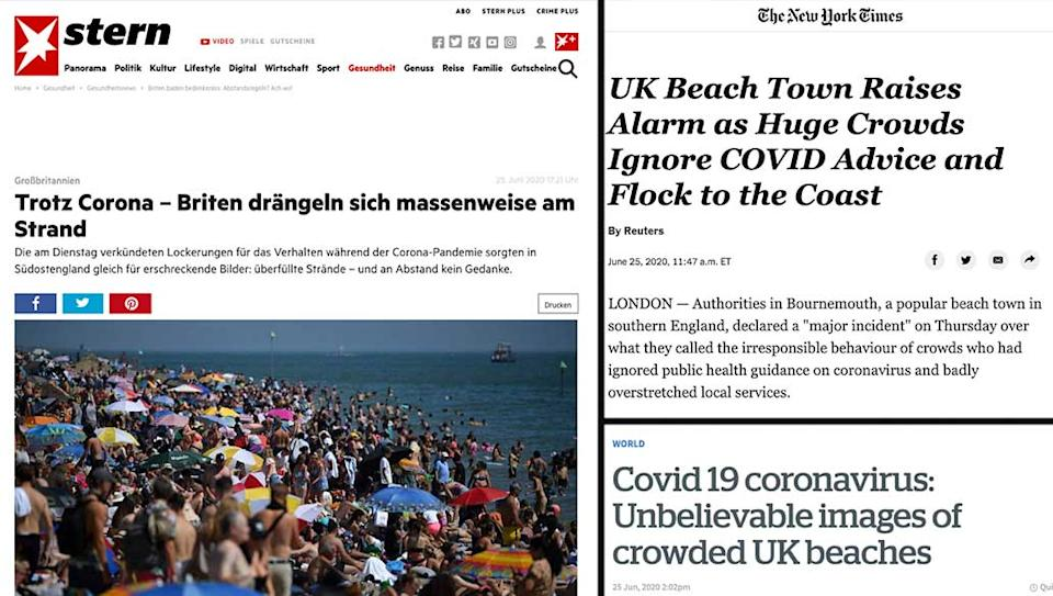 Stern in Germany, the New York Times and the New Zealand Herald all covered the scenes on the south coast.
