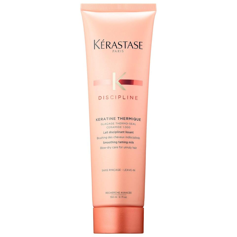 """<h3><strong>Kérastase</strong> Discipline Blow-Dry Smoothing Primer</h3> <br>You can shield your hair from frizz the moment you step out of the shower. If a blowout is your style of choice, coat your strands with this primer while it's wet — it'll create a seal to keep moisture out so your style stays fly.<br><br><strong>Kérastase</strong> Discipline Blow-Dry Smoothing Primer, $, available at <a href=""""https://go.skimresources.com/?id=30283X879131&url=https%3A%2F%2Fwww.sephora.com%2Fproduct%2Fdiscipline-blow-dry-smoothing-primer-P434418%3Ficid2%3Dproducts%2520grid%3Ap434418%3Aproduct"""" rel=""""nofollow noopener"""" target=""""_blank"""" data-ylk=""""slk:Sephora"""" class=""""link rapid-noclick-resp"""">Sephora</a><br>"""