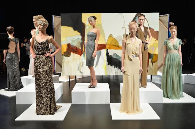 SYDNEY, AUSTRALIA - APRIL 08: A model showcases designs on the runway at the Aurelio Costarella show during Mercedes-Benz Fashion Week Australia Spring/Summer 2013/14 at Carriageworks on April 8, 2013 in Sydney, Australia. (Photo by Stefan Gosatti/Getty Images)