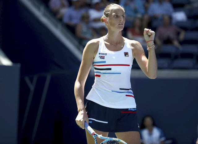 Karolina Pliskova, of the Czech Republic, reacts after scoring a point against Ons Jabeur, of Tunisia, during round three of the US Open tennis championships Friday, Aug. 30, 2019, in New York. (AP Photo/Michael Owens)