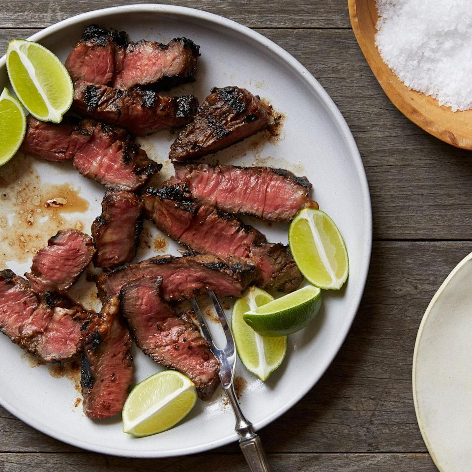 """A tender, well-marbled cut from the shoulder, the Denver steak is a relatively new name for an old butchers' favorite steak. <a href=""""https://www.epicurious.com/recipes/food/views/grilled-soy-tamarind-denver-steaks-51238320?mbid=synd_yahoo_rss"""" rel=""""nofollow noopener"""" target=""""_blank"""" data-ylk=""""slk:See recipe."""" class=""""link rapid-noclick-resp"""">See recipe.</a>"""