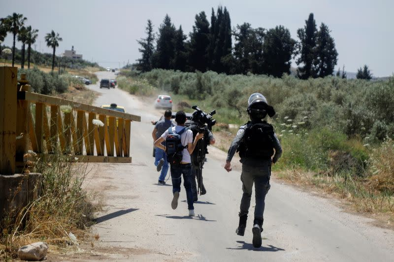 Scene of a security incident near Jenin, in the Israeli-occupied West Bank