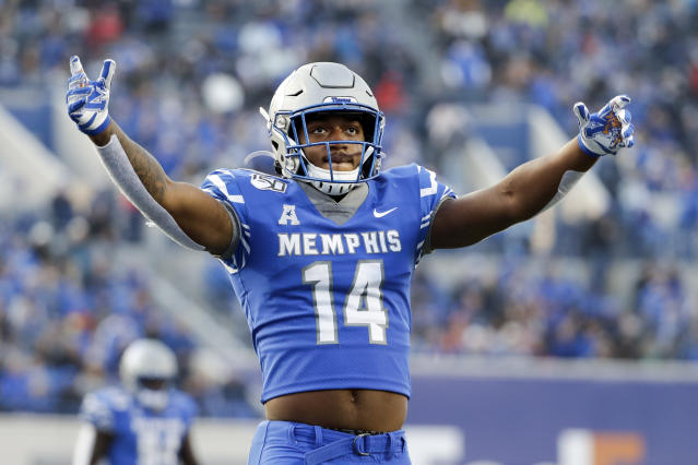 Memphis' Antonio Gibson pumps up the crowd in December against Cincinnati at the American Athletic Conference championship game. (AP Photo/Mark Humphrey)