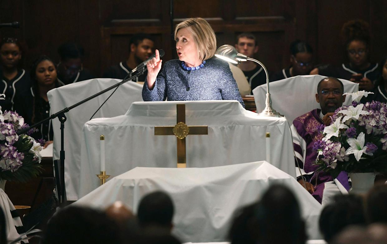 """Former Secretary of State Hillary Clinton speaks at a service marking the anniversary of """"Bloody Sunday"""" at Brown Chapel AME Church in Selma, Ala., on Sunday. (Photo: Julie Bennett/AP)"""