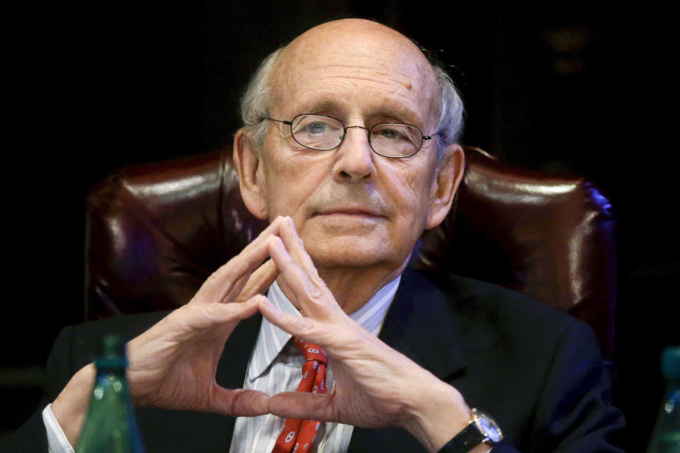 FILE - In this Feb. 13, 2017, file photo, Supreme Court Justice Stephen Breyer listens during a forum called From the Bench to the Sketchbook at the French Cultural Center in Boston. Breyer could glide into retirement as the author of two of the Supreme Court's biggest cases this year. Or the 82-year-old liberal justice could reason that his pragmatic, collaborative approach to judging has never been more needed on the high court and decide to stick around. What will Breyer do? (AP Photo/Steven Senne, File)