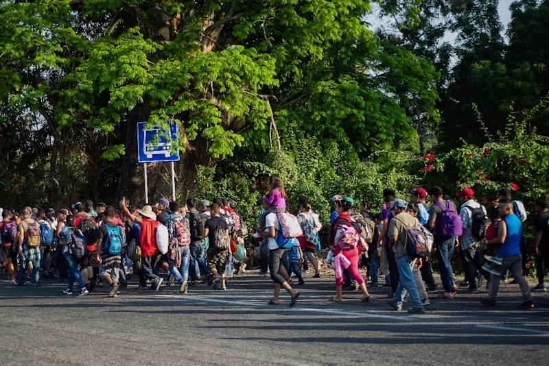 A caravan of central American migrants heading towards the city of Tapachula on April 15