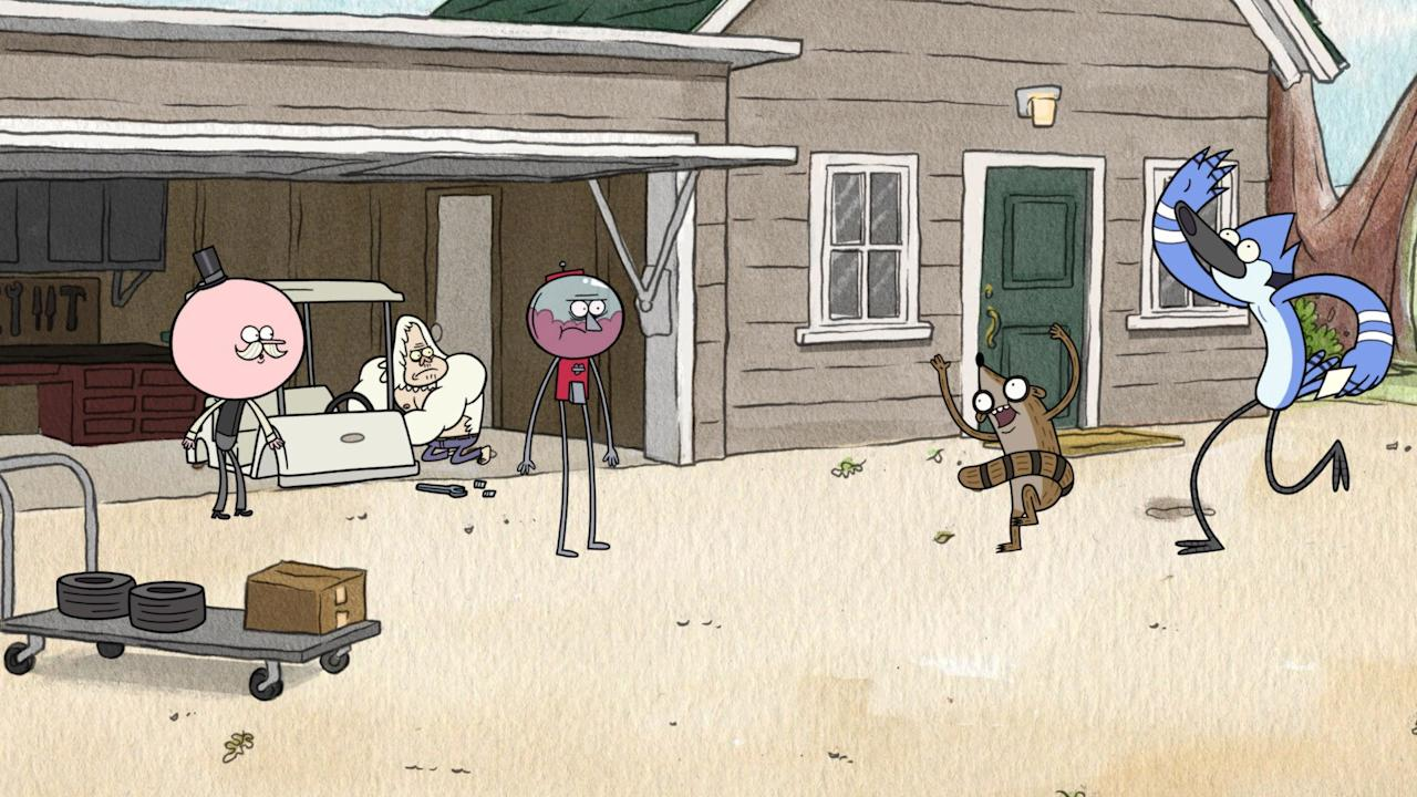 Pops, Skips and Benson watch Rigby and Mordecai dance in Regular Show, Cartoon Network's new original animated comedy series.