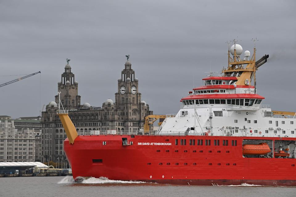Polar research ship, the RRS Sir David Attenborough, sails on the River Mersey (AFP via Getty Images)