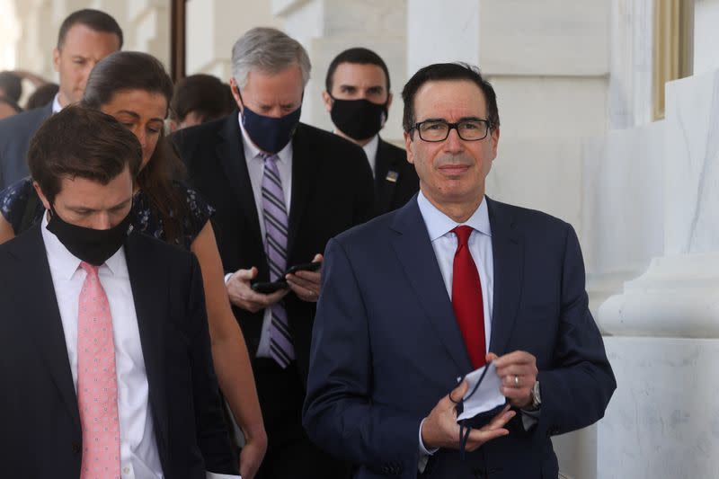 U.S. Treasury Secretary Mnuchin and White House Chief of Staff Meadows depart after coronavirus relief negotiations with Pelosi and Schumer at the U.S. Capitol in Washington