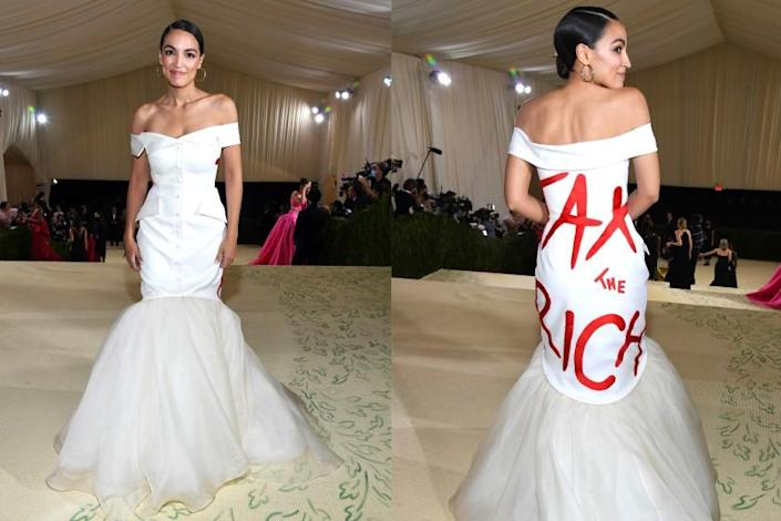 """A split image of a woman in a white dress with """"TAX THE RICH' written on the back in red letters"""