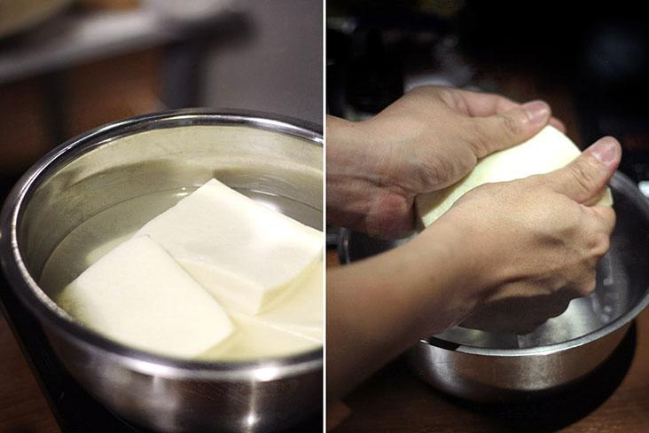 Soak the tofu in hot water to allow it to soften, before squeezing the water out.