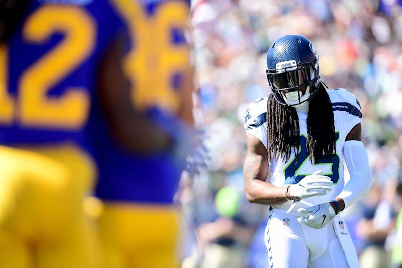 Richard Sherman #25 of the Seattle Seahawks lines up against the Los Angeles Rams at Los Angeles Memorial Coliseum
