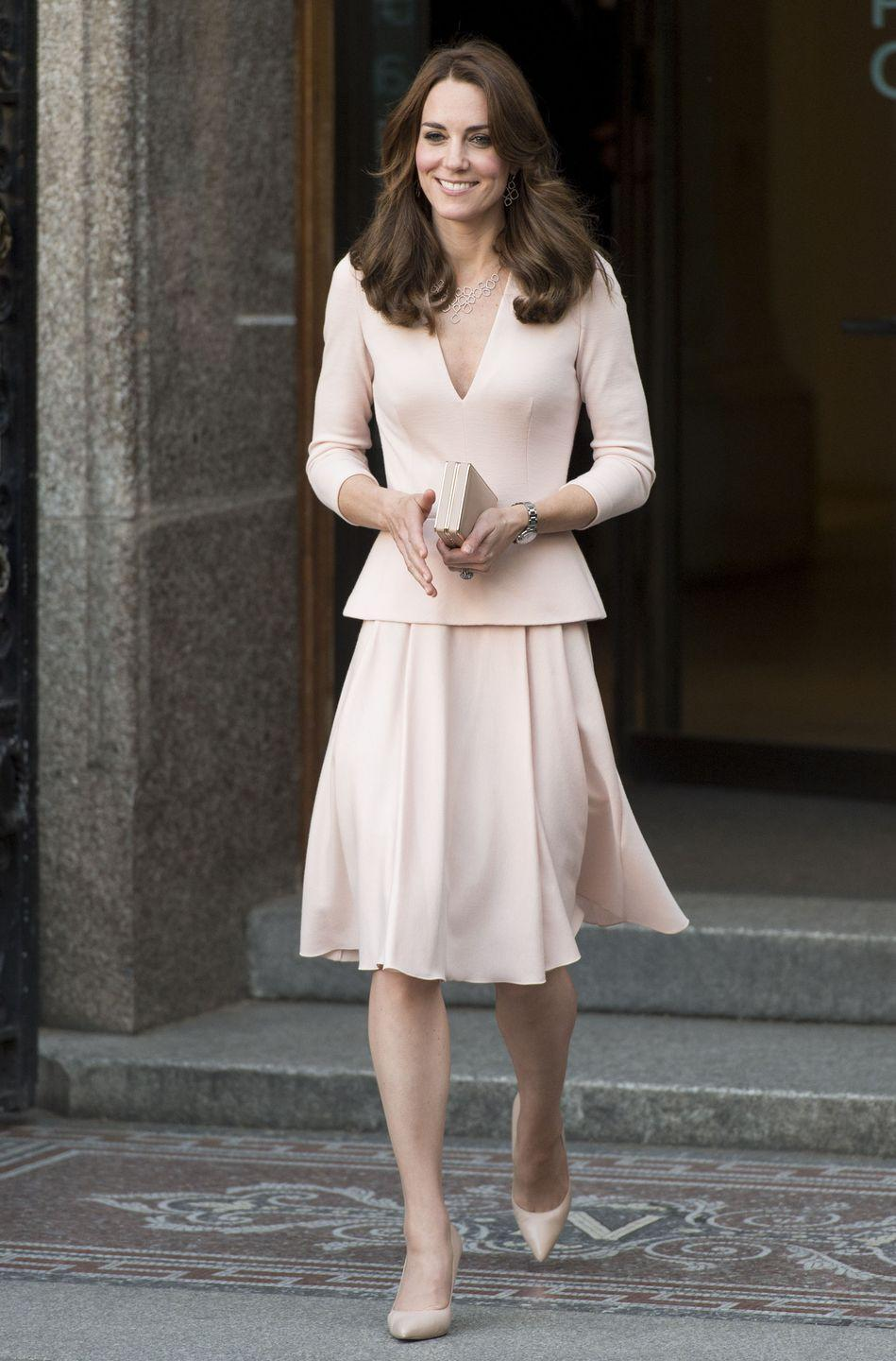<p>The Duchess loves a blush-colored McQueen. She chose this ensemble to visit London's National Portrait Gallery.</p>