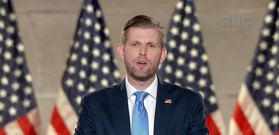Screen grab from Republican National Convention of Eric Trump speaking.