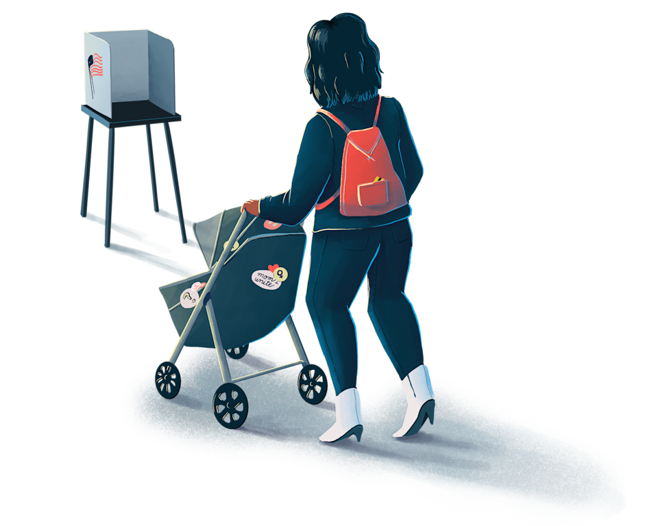 Illustration of a mom pushing a baby in a stroller toward a voting poll booth (Katty Huertas / TODAY)