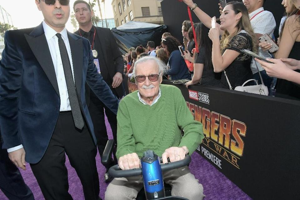 Stan Lee at the premiere of Avengers: Infinity War (Credit: AFP Photo/Charley Gallay)