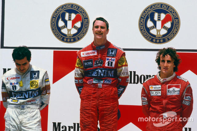 """7. GP de Francia 1987: Nigel Mansell (Williams) y Nelson Piquet (Williams) <span class=""""copyright"""">LAT Images</span>"""