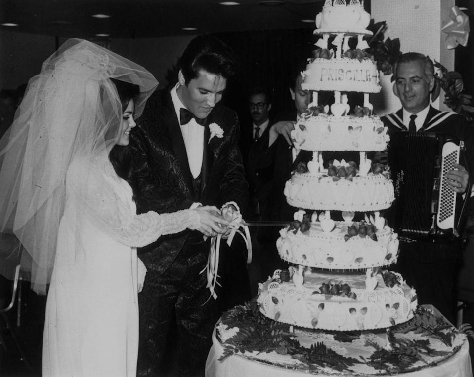 "<p>When 21-year-old Priscilla Beaulieu married 32-year-old Elvis Presley in Las Vegas on May1, 1967, hearts broke across the nation. The couple's wedding cake <a href=""http://www.people.com/article/elvis-presley-priscilla-wedding"" rel=""nofollow noopener"" target=""_blank"" data-ylk=""slk:reportedly cost $3,200 ($22,000"" class=""link rapid-noclick-resp"">reportedly cost $3,200 ($22,000</a> in today's dollars).</p>"