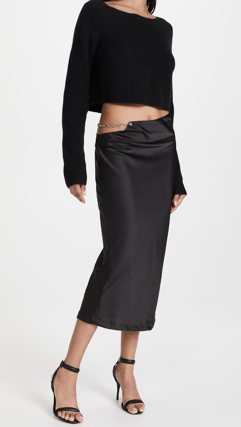 <p>The chain link detail on this <span>Lioness Lions Den Midi Skirt</span> ($79) is so sexy. If you like a longer silhouette but still want to make a statement, go with this.</p>