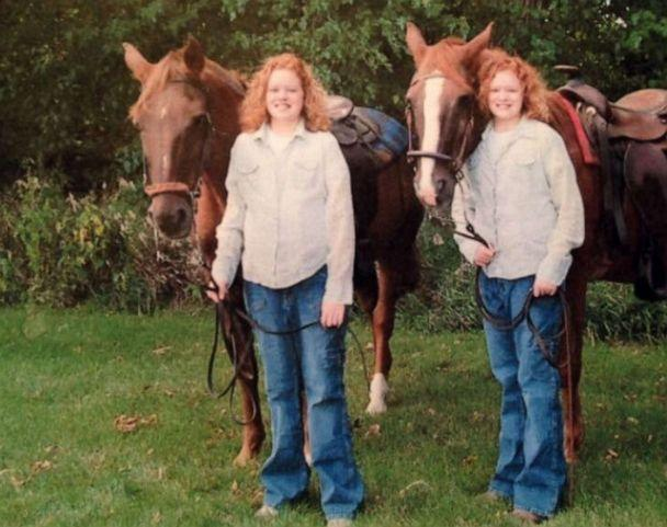 PHOTO: Alex and Jaci pose for a photo with their horses in Alta, Iowa in 2005. (Courtesy Lori Hermstad)