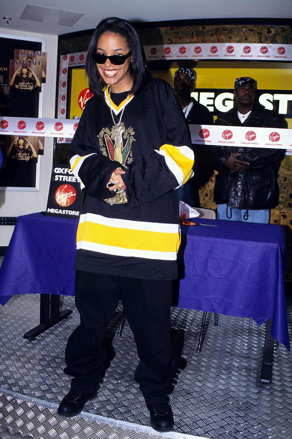 """<h1 class=""""title"""">Aaliyah Instore at Virgin Megastore in London - May 1, 1995</h1><cite class=""""credit"""">Fred Duval/FilmMagic via Getty</cite>"""