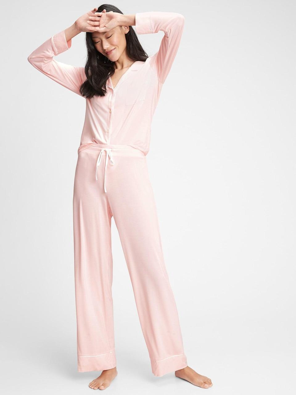 <p>Spend a cozy night in bed with these super comfy <span>Gap Pajama Pants in Modal</span> ($45).</p>