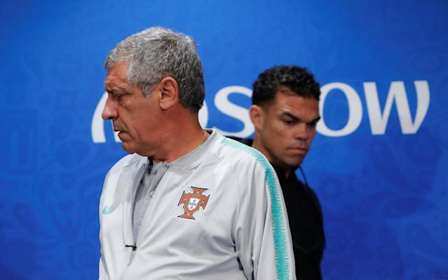 Soccer Football - World Cup - Portugal Press Conference - Luzhniki Stadium, Moscow, Russia - June 19, 2018 Portugal coach Fernando Santos and Pepe during the press conference REUTERS/Sergei Karpukhin