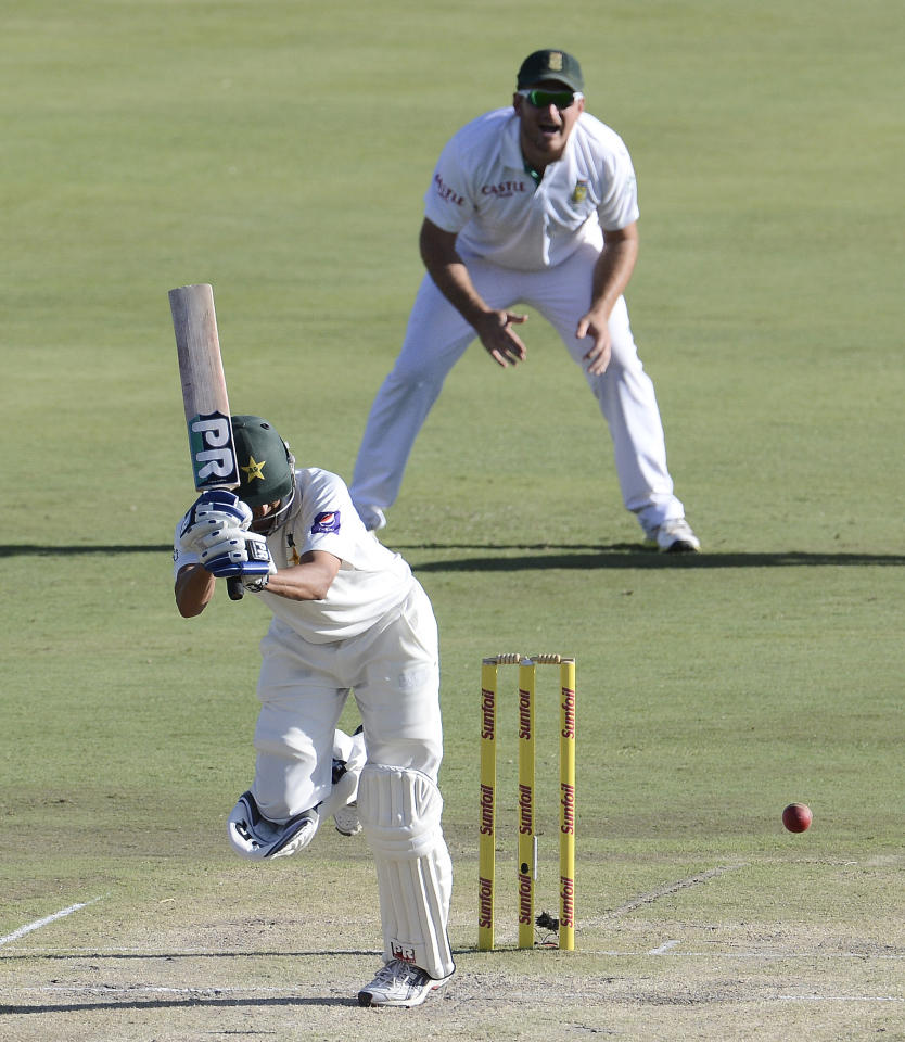 Pakistan's Younis Khan misses a ball from South African bowler Kyle Abbott (unseen) during the second day of the third Test match between South Africa and Pakistan on February 23, 2013 at Super Sport Park in Centurion. AFP PHOTO / STEPHANE DE SAKUTIN        (Photo credit should read STEPHANE DE SAKUTIN/AFP/Getty Images)