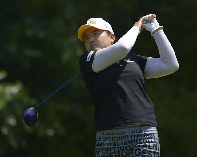 Inbee Park of South Korea hits her tee shot on the fifth hole during the second round of the Airbus LPGA Classic golf tournament at Magnolia Grove on Friday, May 23, 2014, in Mobile, Ala. (AP Photo/G.M. Andrews)