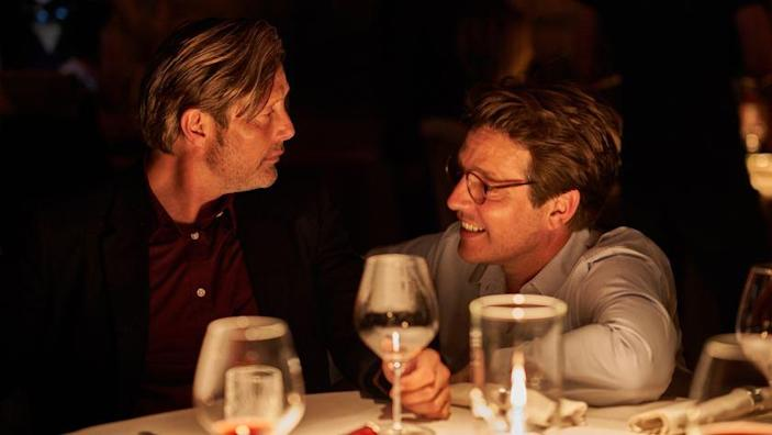Actor Mads Mikkelsen, left, and director and co-writer Thomas Vinterberg in 'Another Round,' a bittersweet drama of middle-aged discontent recently nominated for two Academy Awards.