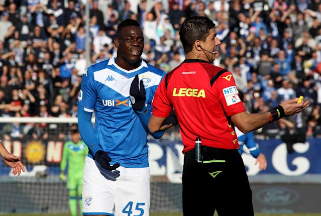 Mario Balotelli spoke to the referees during Brescia's game against Lazio on Sunday, asking for the game to be suspended over racist chants from opposing fans. (Photo by MB Media/Getty Images)