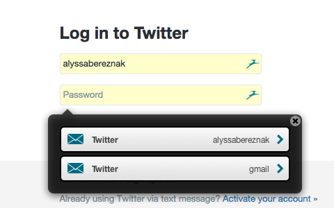 Twitter login screen with Dashlane password app