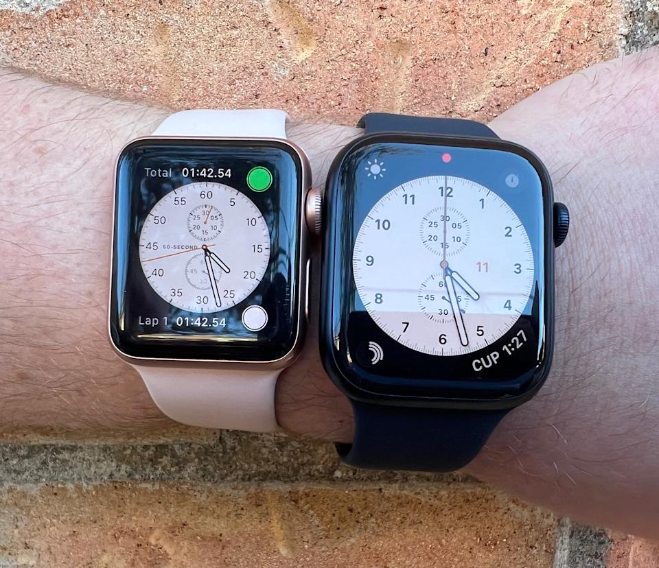 Using the smaller Apple Watch Series 3 is a very different experience from the larger Series 7. The larger screen makes it easier to navigate, and it offers larger font sizes.  (Photo: Howley)