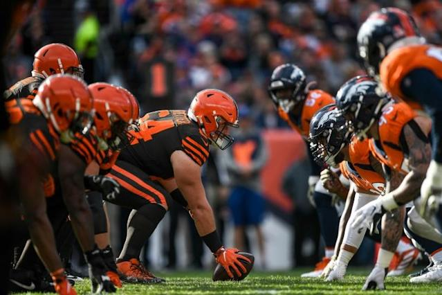 Cleveland Browns center and NFL Players Association president J.C. Tretter, middle, says players have major concerns about pre-season plans by the league after a coronavirus pandemic impacted off-season (AFP Photo/Dustin Bradford)