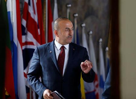 Turkey's Foreign Minister Mevlut Cavusoglu arrives for a meeting with European Union Foreign Ministers in Valletta, Malta, April 28, 2017.  REUTERS/Darrin Zammit Lupi