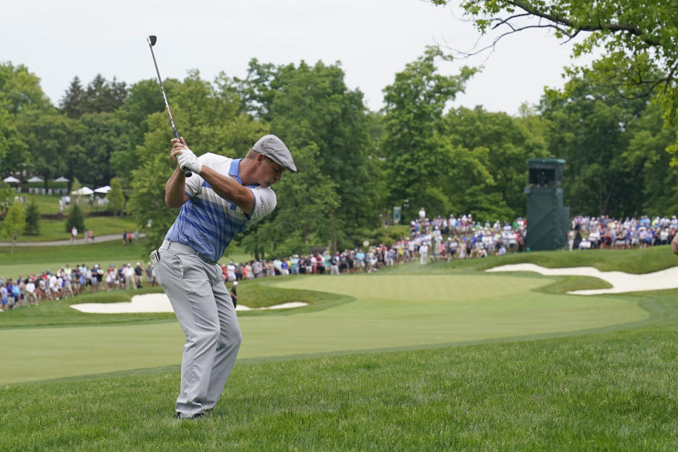 Bryson DeChambeau hits to the 13th green during the second round of the Memorial golf tournament, Friday, June 4, 2021, in Dublin, Ohio. (AP Photo/Darron Cummings)