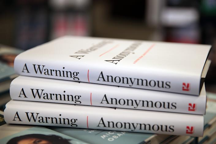 """Copies of """"A Warning"""" by Anonymous are offered for sale at a Barnes & Noble store on November 19, 2019 in Chicago, Illinois. (Scott Olson/Getty Images)"""