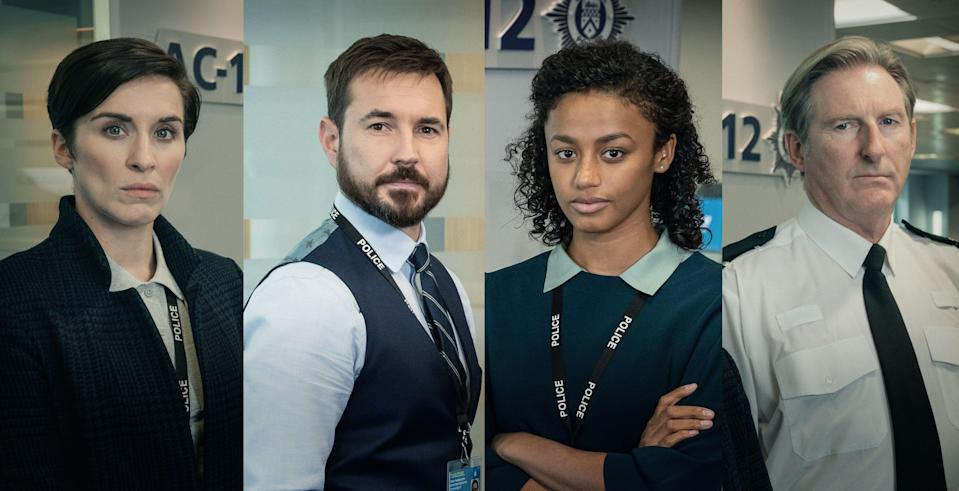 Line Of Duty'sDI Kate Flemming,DS Steve Arnott, DC Chloe Bishop and Superintendent Ted Hastings (Photo: BBC)
