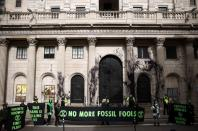 Extinction Rebellion activists protest outside the Bank of England