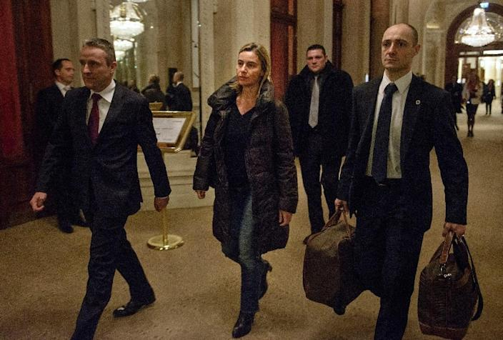 European Union High Representative Federica Mogherini (C) arrives at the Beau Rivage Palace Hotel March 28, 2015 in Lausanne, Switzerland, during Iran nuclear talks (AFP Photo/Brendan Smialowski)