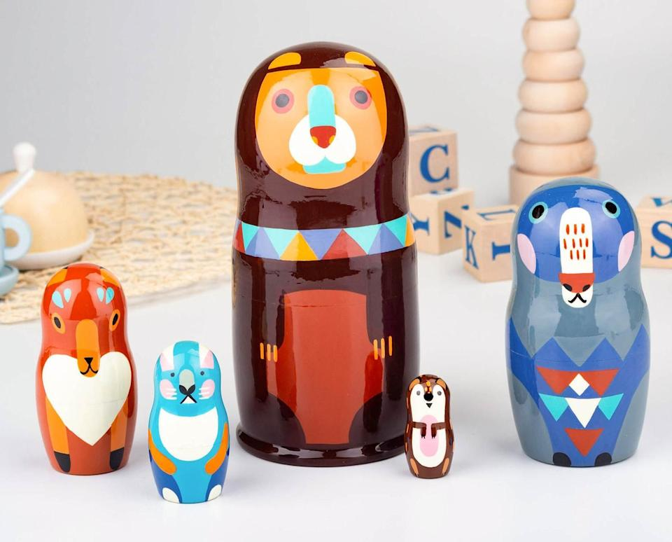 """These are made from natural materials and water-based paints and lacquers, and help to develop motor skills like stacking while revealing the tiniest little hedgehog you've ever seen. <a href=""""https://go.skimresources.com?id=38395X987171&xs=1&url=https%3A%2F%2Fwww.etsy.com%2Fshop%2FFirebirdWorkshop&xcust=HPToysForBoys6092de0ce4b0b9042d99f951"""" target=""""_blank"""" rel=""""noopener noreferrer"""">Firebird Workshop</a>is a St. Petersburg, Russia-based Etsy shop established in 2018 that makes traditional, fine art, nesting dolls.<br /><br /><strong>Promising review:</strong>""""The nesting dolls arrived much sooner than expected. They are absolutely beautiful and the craftsmanship is excellent! What special Christmas gifts they will be for my grandchildren. Thank you!"""" --<a href=""""https://go.skimresources.com?id=38395X987171&xs=1&url=https%3A%2F%2Fwww.etsy.com%2Flisting%2F841738313%2Frussian-nesting-dolls-for-kids&xcust=HPToysForBoys6092de0ce4b0b9042d99f951"""" target=""""_blank"""" rel=""""noopener noreferrer"""">Sally H. Wiley</a><br /><br /><strong>Get it from <a href=""""https://go.skimresources.com?id=38395X987171&xs=1&url=https%3A%2F%2Fwww.etsy.com%2Fshop%2FFirebirdWorkshop&xcust=HPToysForBoys6092de0ce4b0b9042d99f951"""" target=""""_blank"""" rel=""""noopener noreferrer"""">Firebird Workshop</a> on Etsy for <a href=""""https://go.skimresources.com?id=38395X987171&xs=1&url=https%3A%2F%2Fwww.etsy.com%2Flisting%2F841738313%2Frussian-nesting-dolls-for-kids&xcust=HPToysForBoys6092de0ce4b0b9042d99f951"""" target=""""_blank"""" rel=""""noopener noreferrer"""">$20.90+</a>.</strong>"""