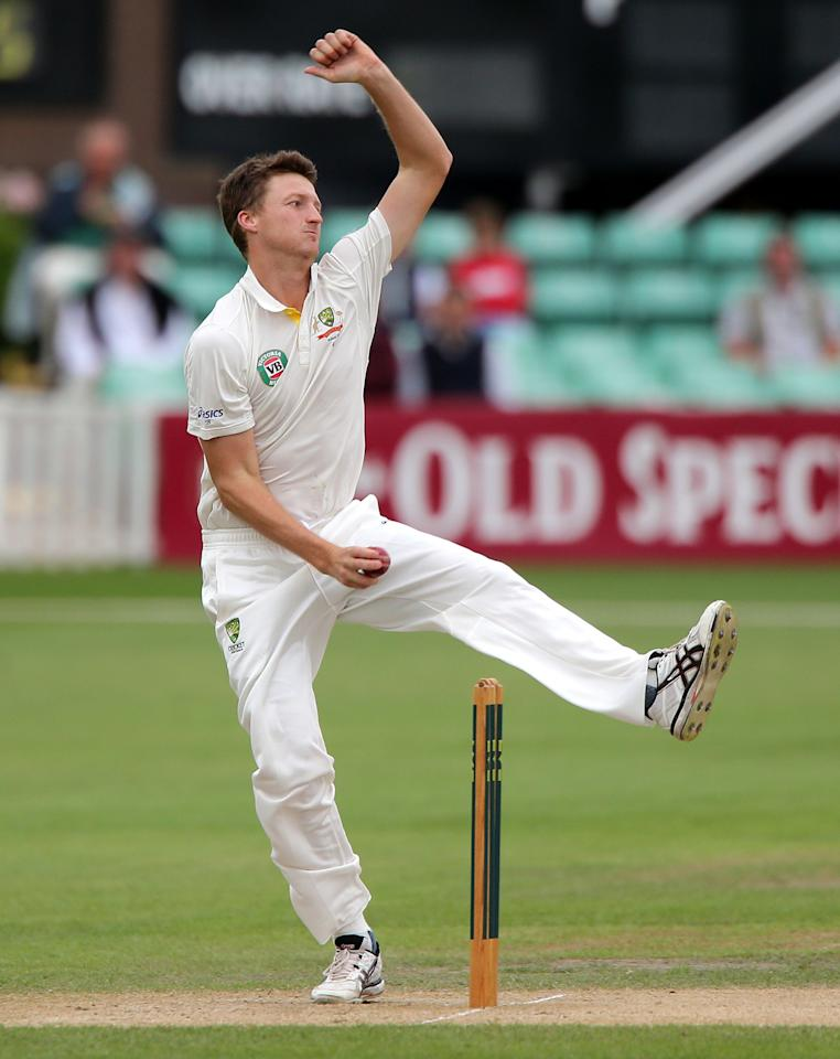 Australia bowler Jackson Bird during day three of the International Warm up match at New Road against Worcestershire at Worcester.
