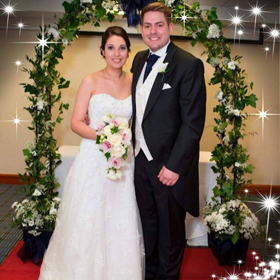 Sam Robinson with his wife Lauren on their wedding day. (Supplied, Sam Robinson)
