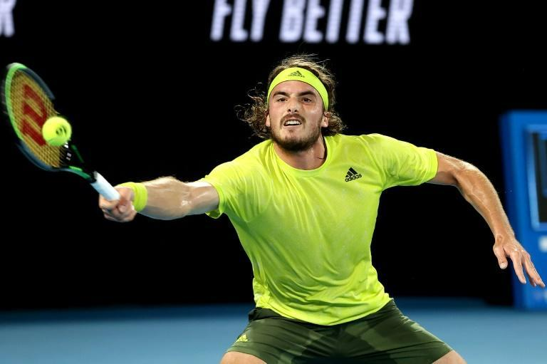 Stefanos Tsitsipas, here seen during his spectacular quarter-final comeback against Rafael Nadal, will face Daniil Medvedev for a place in the Australian Open final
