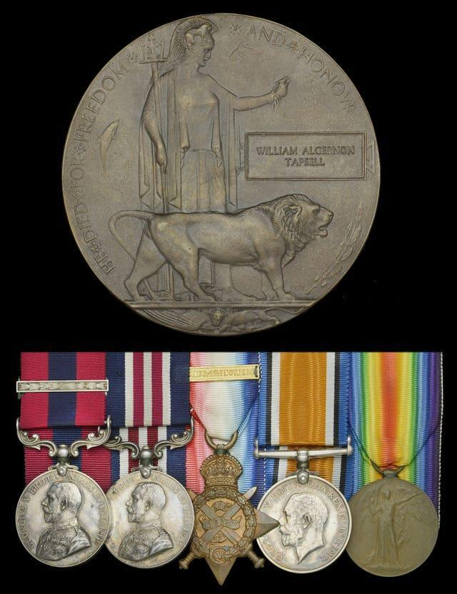 A group of medals won by Lieutenant William Tapsell