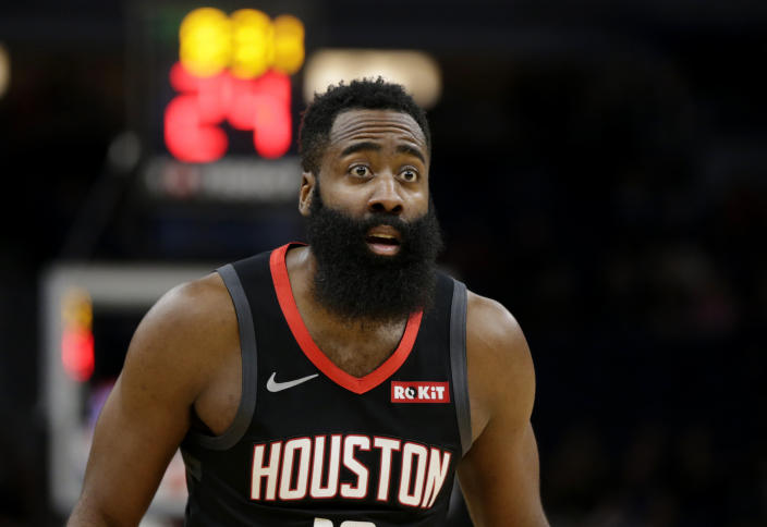 The Houston Rockets' James Harden with a surprised look on his face.