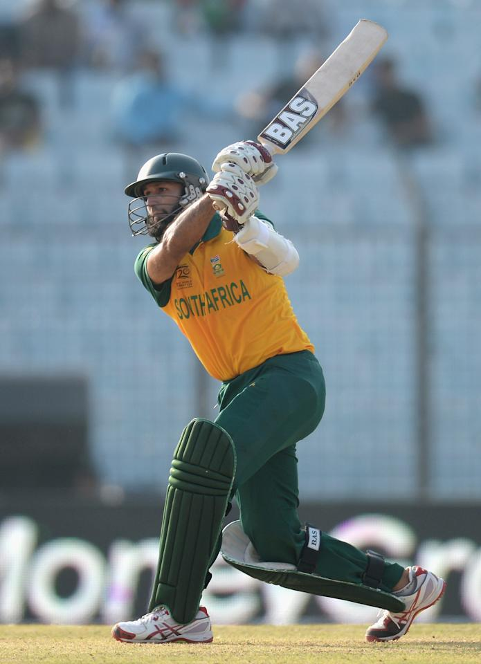 CHITTAGONG, BANGLADESH - MARCH 24:  Hashim Amla of South Africa bats during the ICC World Twenty20 Bangladesh 2014 Group 1 match between New Zealand and South Africa at Zahur Ahmed Chowdhury Stadium on March 24, 2014 in Chittagong, Bangladesh.  (Photo by Gareth Copley/Getty Images)