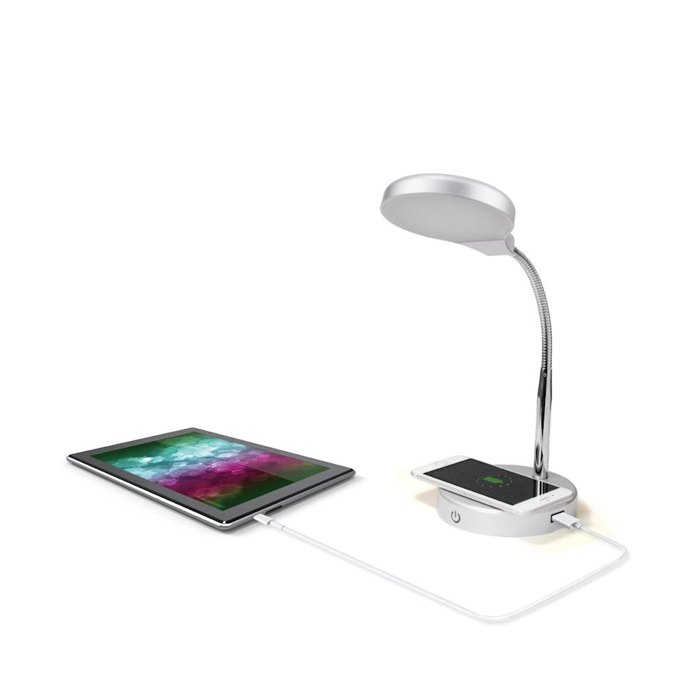 """<p>This brilliant <a href=""""https://www.popsugar.com/buy/Mainstays-LED-Desk-Lamp-Qi-Wireless-Charging-USB-Port-476373?p_name=Mainstays%20LED%20Desk%20Lamp%20With%20Qi%20Wireless%20Charging%20and%20USB%20Port&retailer=walmart.com&pid=476373&price=10&evar1=savvy%3Aus&evar9=46463248&evar98=https%3A%2F%2Fwww.popsugar.com%2Fsmart-living%2Fphoto-gallery%2F46463248%2Fimage%2F46463256%2FMainstays-LED-Desk-Lamp-Qi-Wireless-Charging-USB-Port&list1=shopping%2Ccollege%2Cwalmart%2Cback%20to%20school%20shopping%2Cdorms&prop13=api&pdata=1"""" rel=""""nofollow"""" data-shoppable-link=""""1"""" target=""""_blank"""" class=""""ga-track"""" data-ga-category=""""Related"""" data-ga-label=""""https://www.walmart.com/ip/Mainstays-LED-Desk-Lamp-with-Qi-Wireless-Charging-and-USB-Port-Silver/620791105"""" data-ga-action=""""In-Line Links"""">Mainstays LED Desk Lamp With Qi Wireless Charging and USB Port</a> ($10, originally $20) will give you light and charge your devices on late nights!</p>"""
